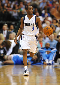 March 29th, 2010   Dallas Mavericks guard Rodrigue Beaubois #3 brings the ball forward in a game between the Denver Nuggets and the Dallas Mavericks at the American Airlines Center in Dallas, Texas. Dallas wins 109-93