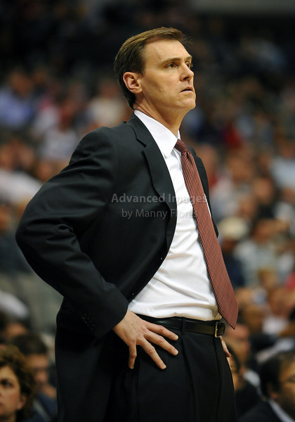 March 23rd, 2010  <br /> Dallas Mavericks Head Coach Rick Carlisle in action<br /> in a game between the Los Angeles Clippers and the Dallas Mavericks at the American Airlines Center in Dallas, Texas.<br /> Dallas wins 106-96