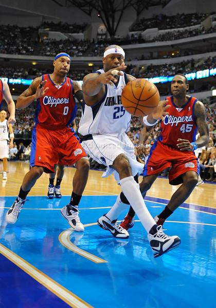 March 23rd, 2010  <br /> Dallas Mavericks center Erick Dampier #25 gets a rebound<br /> in a game between the Los Angeles Clippers and the Dallas Mavericks at the American Airlines Center in Dallas, Texas.<br /> Dallas wins 106-96
