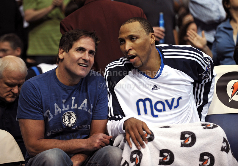 March 23rd, 2010  <br /> Dallas Mavericks forward Shawn Marion #0 has a talk with Mark Cuban on the sidelines in a game between the Los Angeles Clippers and the Dallas Mavericks at the American Airlines Center in Dallas, Texas.<br /> Dallas wins 106-96