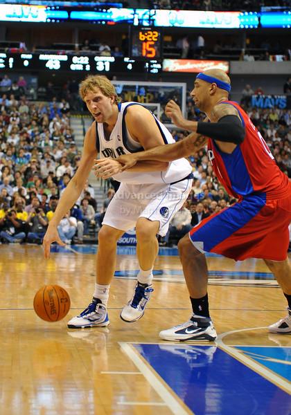 March 23rd, 2010  <br /> Dallas Mavericks forward Dirk Nowitzki #41 posts up<br /> in a game between the Los Angeles Clippers and the Dallas Mavericks at the American Airlines Center in Dallas, Texas.<br /> Dallas wins 106-96