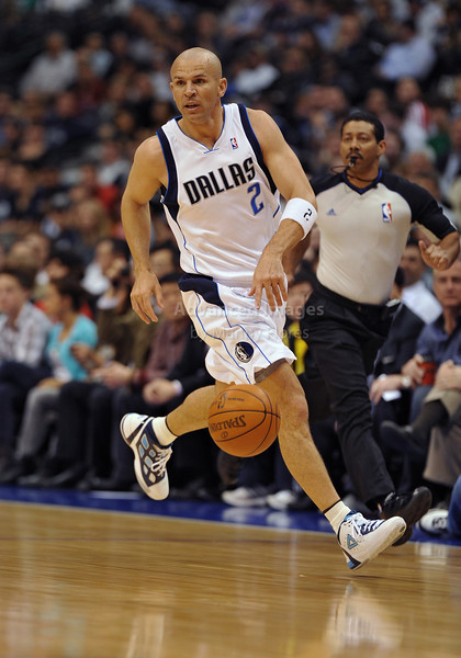 March 23rd, 2010  <br /> Dallas Mavericks guard Jason Kidd #2 pushes the ball forward<br /> in a game between the Los Angeles Clippers and the Dallas Mavericks at the American Airlines Center in Dallas, Texas.<br /> Dallas wins 106-96