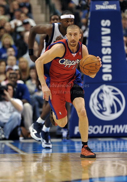 March 23rd, 2010  <br /> Los Angeles Clippers guard Steve Blake #2 brings the ball foward<br /> in a game between the Los Angeles Clippers and the Dallas Mavericks at the American Airlines Center in Dallas, Texas.<br /> Dallas wins 106-96