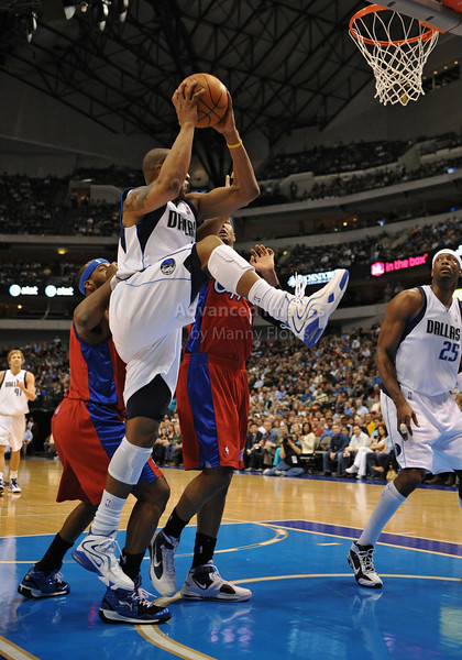 March 23rd, 2010  <br /> Dallas Mavericks forward Caron Butler #4 gets a rebound<br /> in a game between the Los Angeles Clippers and the Dallas Mavericks at the American Airlines Center in Dallas, Texas.<br /> Dallas wins 106-96