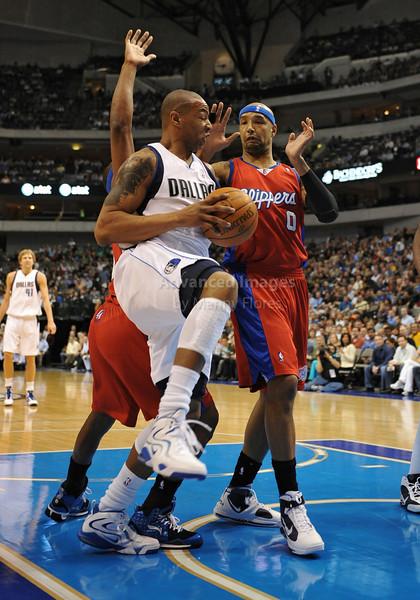 March 23rd, 2010  <br /> Dallas Mavericks forward Caron Butler #4 gets a rebound<br /> in a game between the Los Angeles Clippers and the Dallas Mavericks at the American Airlines Center in Dallas, Texas.<br /> Dallas wins 106-96