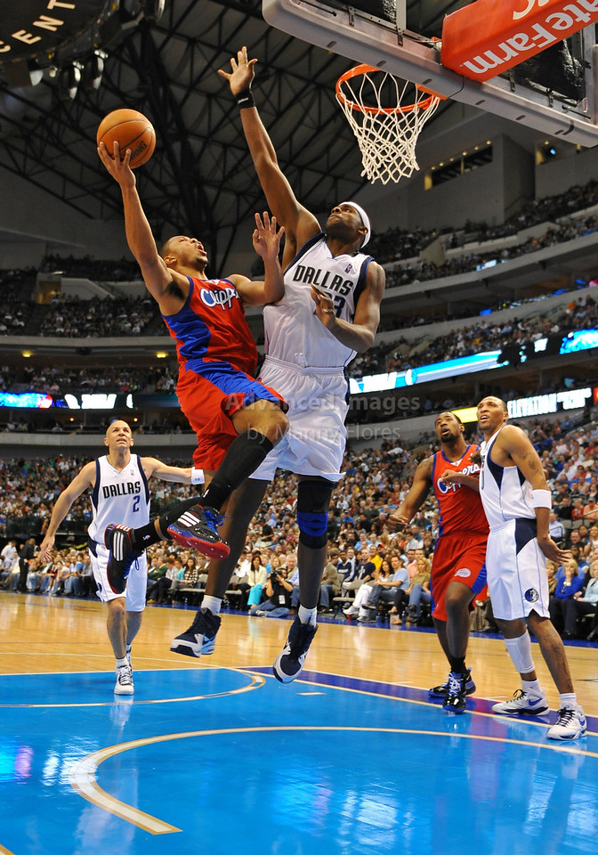 March 23rd, 2010  <br /> Los Angeles Clippers guard Eric Gordon #10 tries to drive against Dallas Mavericks center Brendan Haywood #33 in a game between the Los Angeles Clippers and the Dallas Mavericks at the American Airlines Center in Dallas, Texas.<br /> Dallas wins 106-96