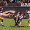 The PAC-12 Football game between the University of Colorado Buffaloes (CU) and the University of Southern California Trojans (SC) at Folsom Field on the University of Colorado campus in Boulder, Colorado.  Final score of the game was the USC Trojans - 38 and the CU Buffaloes - 24.