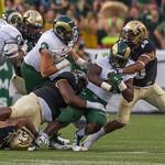 The Rocky Mountain Showdown NCAA Football game between the University of Colorado Buffaloes (CU) and the Colorado State University Rams (CS) at Sports Authority Field in Denver, Colorado.  Final score of the game was CU Buffaloes -  and the CSU Rams -