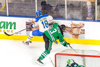Lake Superior State vs North Dakota in game one of the 19th Annual 2015 NCAA Ice Breaker Tournament. Maine is hosting the 2015 Ice Breaker Tournament at the Cross Insurance Arena in Portland, Maine on 10/9/2015. (Photo by Michael McSweeney/Portland Pirates).