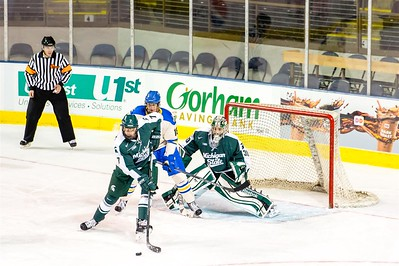 Lake Superior State vs Michigan State in game one of the final day during the 2015 Annual NCAA Ice Breaker Tournament. Maine is hosting the 19th Annual NCAA Ice Breaker Tournament at the Cross Insurance Arena in Portland, Maine on 10/10/2015. (Photo by Michael McSweeney/Portland Pirates).