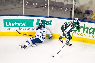 Michigan State vs University of Maine in game two of the 19th Annual NCAA Ice Breaker Tournament. Maine is hosting the 19th Annual NCAA Ice Breaker Tournament at the Cross Insurance Arena in Portland, Maine on 10/9/2015. (Photo by Michael McSweeney/Portland Pirates).