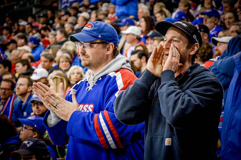 UMass Lowell fans cheer on their team during the NCAA Northeast Regional Semifinal game against Cornell. UMass Lowell won 5-0. SUN/Caley McGuane