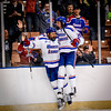 From left, UMass Lowell's Michael Kapla and Mattias Goransson celebrate a goal against Cornell during the NCAA Northeast Regional Semifinals. SUN/Caley McGuane