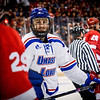 UMass Lowell's Ryan Collins cracks a smile during their NCAA Northeast Regional Semifinals game, beating Cornell 5-0. SUN/Caley McGuane