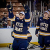Notre Dame's Jake Evans gives two thumbs up after their team won in overtime against UMass Lowell. SUN/Caley McGuane