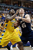 Marquette forward Jae Crowder (32) battles for a rebound with Notre Dame forward Jack Cooley (45) during the game between the Marquette Golden Eagles and the Notre Dame Fighting Irish at the Bradley Center in Milwaukee, WI. Marquette defeated Notre Dame 79-57.   Mandatory Credit: John Rowland / Southcreek Global