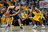 Notre Dame guard Ben Hansbrough (23) looks for room to maneuver while Marquette guard Dwight Buycks (23) defends during the game between the Marquette Golden Eagles and the Notre Dame Fighting Irish at the Bradley Center in Milwaukee, WI. Marquette defeated Notre Dame 79-57.   Mandatory Credit: John Rowland / Southcreek Global