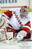 Wisconsin goalie Scott Gudmandson (1) covers up a rebound after making a save during the game between the Minnesota Golden Gophers and the Wisconsin Badgers at the Kohl Center in Madison, WI.  Minnesota defeated Wisconsin 5-2.   Mandatory Credit: John Rowland / Southcreek Global