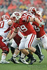 Wisconsin defensive tackle J.J. Watt (99) looks to make a play during the game between the Indiana Hoosiers and the Wisconsin Badgers at Camp Randall Stadium, Madison, Wisconsin.  Wisconsin defeated Indiana 83-20.  Mandatory Credit: John Rowland / Southcreek Global