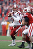 Indiana quarterback Ben Chappell (4) Looks to throw during the game between the Indiana Hoosiers and the Wisconsin Badgers at Camp Randall Stadium, Madison, Wisconsin.  Wisconsin defeated Indiana 83-20.  Mandatory Credit: John Rowland / Southcreek Global