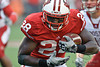 Wisconsin running back Montee Ball (28) picks up yardage during the game between the Indiana Hoosiers and the Wisconsin Badgers at Camp Randall Stadium, Madison, Wisconsin.  Wisconsin defeated Indiana 83-20.  Mandatory Credit: John Rowland / Southcreek Global