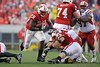 Wisconsin running back Montee Ball (28) breaks through a hole during the game between the Indiana Hoosiers and the Wisconsin Badgers at Camp Randall Stadium, Madison, Wisconsin.  Wisconsin defeated Indiana 83-20.  Mandatory Credit: John Rowland / Southcreek Global