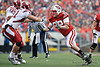 Wisconsin defensive tackle Pat Muldoon (92) rushes the passer during the game between the Indiana Hoosiers and the Wisconsin Badgers at Camp Randall Stadium, Madison, Wisconsin.  Wisconsin defeated Indiana 83-20.  Mandatory Credit: John Rowland / Southcreek Global