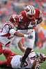 Wisconsin running back Montee Ball (28) fights to cross the goal line during the game between the Indiana Hoosiers and the Wisconsin Badgers at Camp Randall Stadium, Madison, Wisconsin.  Wisconsin defeated Indiana 83-20.  Mandatory Credit: John Rowland / Southcreek Global