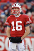Wisconsin quarterback Scott Tolzien (16) looks to the sideline for the play during the game between the Northwestern Wildcats and the Wisconsin Badgers at Camp Randall Stadium, Madison, Wisconsin.  Wisconsin defeated Northwestern 70-23.  Mandatory Credit: John Rowland / Southcreek Global