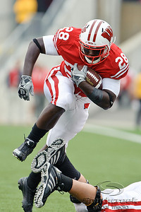 Wisconsin running back Montee Ball (28) runs with the ball during the game between the Wisconsin Badgers and the San Jose State Spartans at Camp Randall Stadium in Madison, WI. Wisconsin defeated San Jose State 27-14. Mandatory Credit: John Rowland / Southcreek Global