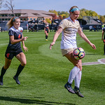 The NCAA Pac 12 Women's Soccer game between the University of Colorado Buffaloes (CU) and the Oregon State Beavers (OS) at Prentup Field in Boulder, Colorado.   Final score of the game was CU Buffaloes - 3 and Orgeon State Beavers - 0.