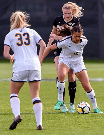 The PAC12 Women's Soccer game between the University of Colorado Buffaloes (CU) and the University of California CalBears (CA) at Prentup Field in Boulder, Colorado.  Final score of the game was California CalBears - 1 and the CU Buffaloes - 0.
