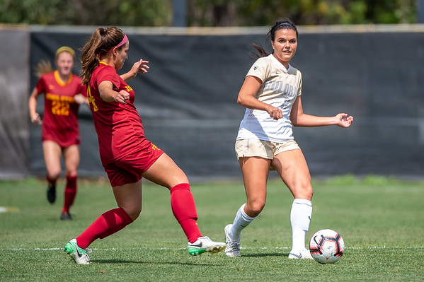 The NCAA Women's Soccer game between the University of Colorado Buffaloes and the University of Iowa Cyclones at Prentup Field in Boulder, Colorado.  Final score of the game was CU Buffaloes - 3 and the University of Iowa Cyclones  - 1.