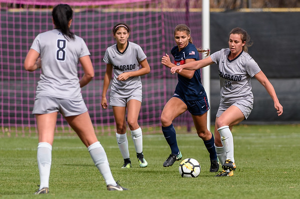 The PAC12 Women's Soccer game between the University of Colorado Buffaloes (CU) and the University of Arizona Wildcats (AZ) at Prentup Field in Boulder, Colorado.  Final score of the game, in double overtime, was the CU Buffaloes - 0 and Arizona Wildcats - 0.