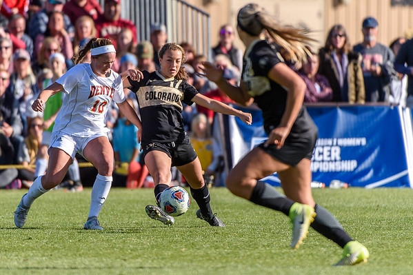 The NCAA Round 1 Women's Soccer Play-off game between the University of Colorado Buffaloes (CU) and the University of Denver Pioneers at Prentup Field in Boulder, Colorado on November 12, 2017.  Final score of the game was the CU Buffaloes - 2 and DU Pioneers - 1.