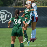 The Colorado State University (CSU) vs the University of Denver (DU) game at the 2015 Colorado Cup Division 1 Women's College Soccer Tournament at Prentup Field at the University of Colorado, Boulder, Colorado