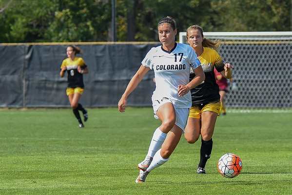 The University of Colorado (CU) vs Colorado College game at the 2015 Colorado Cup Division 1 Women's College Soccer Tournament at Prentup Field at the University of Colorado, Boulder, Colorado