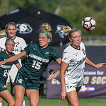 The NCAA Pac 12 Women's Soccer game between the University of Colorado Buffaloes (CU) and the Michigan State Spartans (MSU) at Prentup Field in Boulder, Colorado.   Final score of the game was CU Buffaloes - 1 and Michigan State Spartans - 2.
