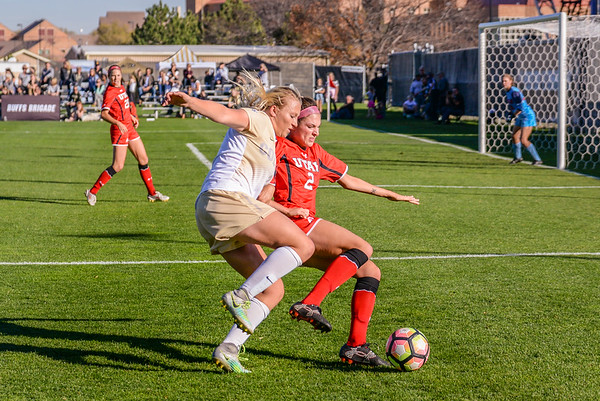 The NCAA Pac 12 Women's Soccer game between the University of Colorado Buffaloes (CU) and the Utah Utes (UT) at Prentup Field in Boulder, Colorado.   Final score of the game was CU Buffaloes - 1 and Utah Utes - 1.