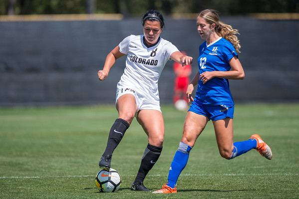 The NNCAA Women's Soccer game between the University of Colorado Buffaloes (CU) and the UC Riverside Highlanders (CR) at Prentup Field in Boulder, Colorado.  Final score of the game, ertime, was CU Buffaloes - 6 and the UC Riverside Highlanders - 0.