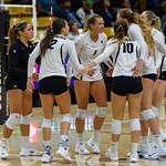The NCAA PAC12 Women's Volleyball match between the University of Colorado Buffaloes (CU) and the Oregon State Beavers (OS) at the Coors Event Center on the University of Colorado campus in Boulder, Colorado.  Final score of the match was the CU Buffaloes - 3 games and the Oregon State Beavers - 2 games.