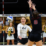 The NCAA PAC12 Women's Volleyball match between the University of Colorado Buffaloes (CU) and the Stanford Cardinals (ST) at the Coors Event Center on the University of Colorado campus in Boulder, Colorado.  Final score of the match was the Stanford Cardinals - 3 games and the CU Buffaloes - 2 games.