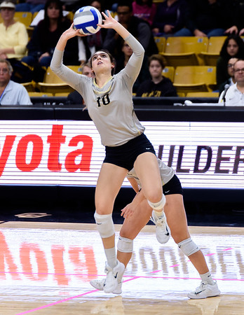 The PAC12 Women's Volleyball match between the University of Colorado Buffaloes (CU) and the University of California Los Angeles Bruins (UC) at the Coors Event Center on the University of Colorado campus in Boulder, Colorado.  Final score of the match was the  UCLA Bruins - 3 games and the CU Buffaloes - 2 games.