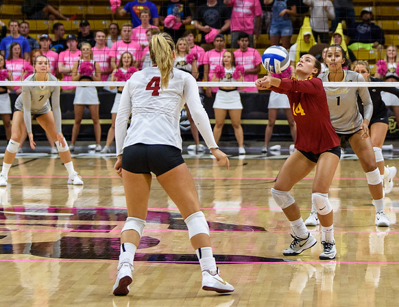 The PAC12 Women's Volleyball match between the University of Colorado Buffaloes (CU) and the University of Southern California Trojans (SC) at the Coors Event Center on the University of Colorado campus in Boulder, Colorado.  Final score of the match was the CU Buffaloes - 3 games and the USC Trojans - 0 games.