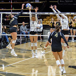 The PAC12 Women's Volleyball match between the University of Colorado Buffaloes (CU) and the University of Washington Huskies (WA) at the Coors Event Center on the University of Colorado campus in Boulder, Colorado.  Final score of the match was the CU Buffaloes - 3 games and the Washington Huskies - 0 games.