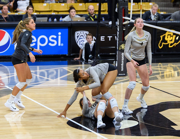 The PAC12 Women's Volleyball match between the University of Colorado Buffaloes (CU) and the Washington State University Cougars (WS) at the Coors Event Center on the University of Colorado campus in Boulder, Colorado.  Final score of the match was the CU Buffaloes - 3 games and the Washington State Cougars - 0 games.