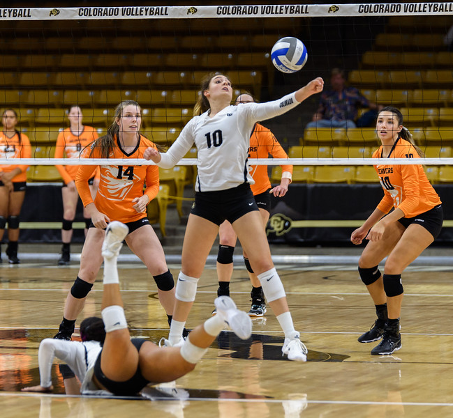 The NCAA PAC12 Women's Volleyball match between the University of Colorado Buffaloes (CU) and the Oregon State Beavers (OS) at the Coors Event Center on the University of Colorado campus in Boulder, Colorado.  Final score of the match was the Oregon State Beavers -  games and the CU Buffaloes -  games. games.
