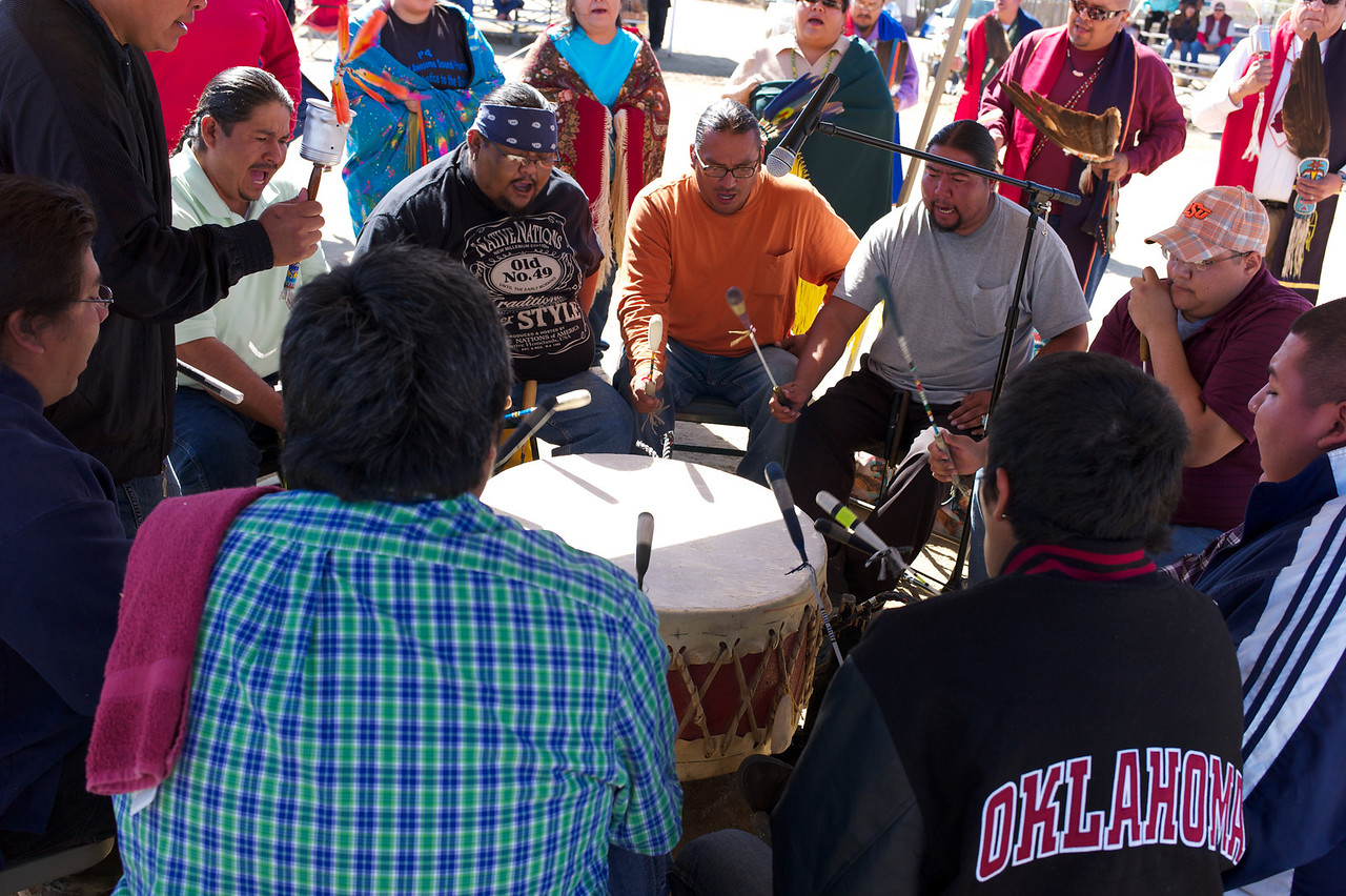 Drummers in center of pow wow