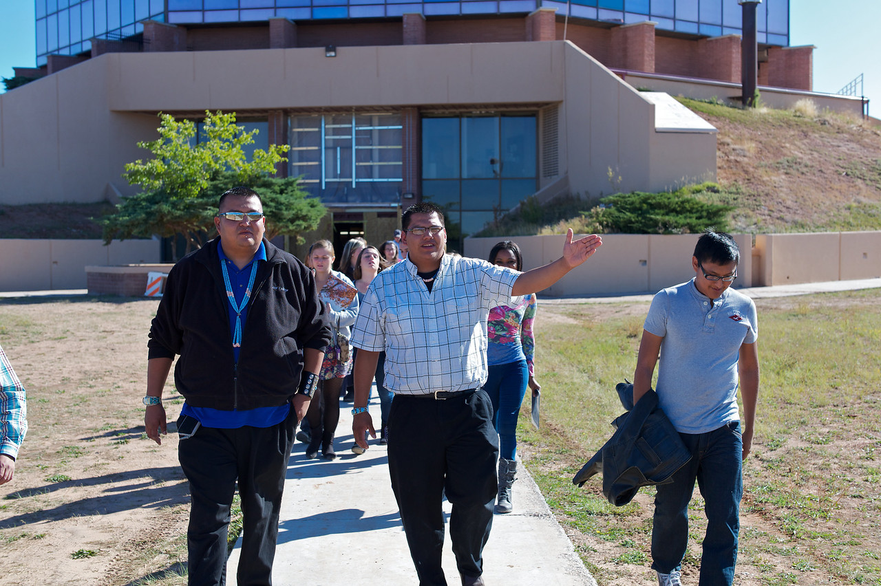 Leonard and Trevor give a tour of the Diné College campus