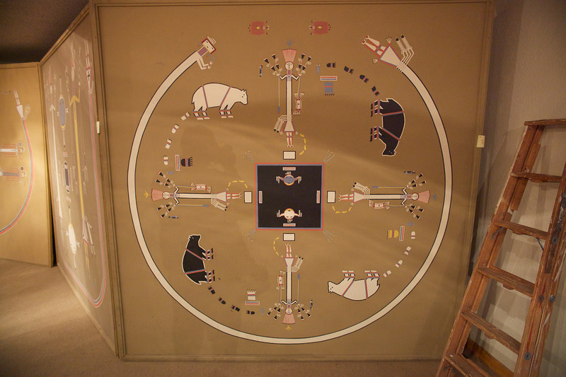 One of many traditional Navajo sand paintings displayed on campusv